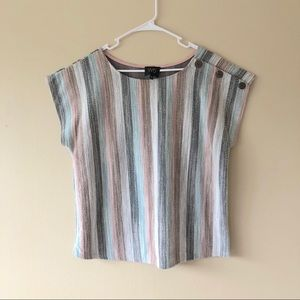 Anthropologie W5 Striped Short Sleeve Blouse Sz L